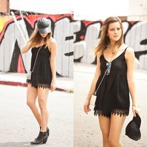 Black Mika Galaw/Lace Detail Lined Romper/Jumpsuit